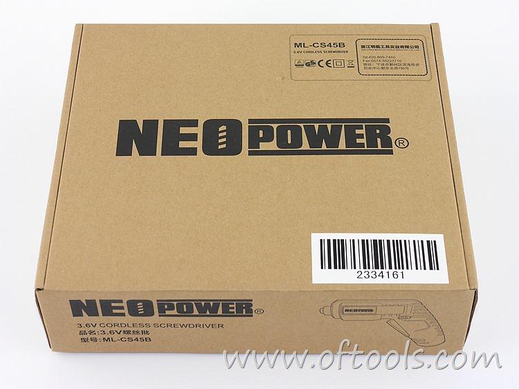1、尼奥动力(neopower)ML-CS45B 3.6V锂电螺丝刀 物流纸盒
